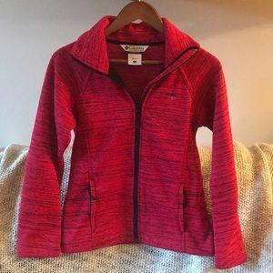 Columbia red fleece lined zip up. Women's Small